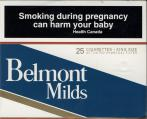 Belmont Milds 25 Cigarettes - King Size Activated Charcoal Filter (Canadian warning, ENblack03)