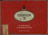 "CRAVEN ""A"" Cork Tipped Virginia Cigarettes Made in England (50 cig., metal tin)"