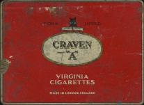 "CRAVEN ""A"" Cork Tipped Virginia Cigarettes Made in London, England (50 cig., metal tin)"