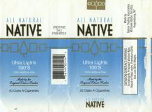 All Natural Native Ultra Lights 100's 100% Additive-Free Made By The Original Tobacco Traders 20 Class A Cigarettes
